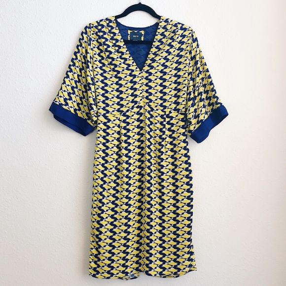 a91ffa2055057 Anthropologie Dresses | Maeve Yellow Blue Geometric Dress | Poshmark